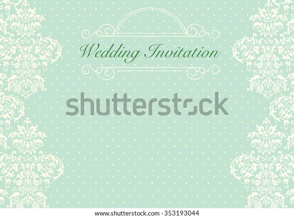 Mint Green Wedding Invitation Background Stock Vector