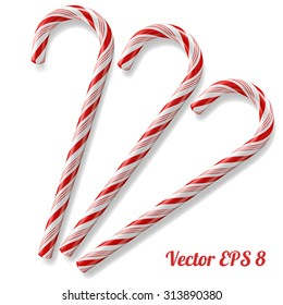 Mint hard candy cane striped in Christmas colours, vector illustration EPS 8.