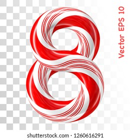 Mint hard candy cane vector number collection striped in Christmas colours. Figure 8. Eps 8 using mesh.