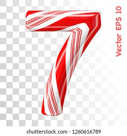 Mint hard candy cane vector number collection striped in Christmas colours. Figure 7. Eps 8 using mesh.