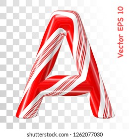 Mint hard candy cane vector alphabet collection striped in Christmas colours. Letter A. Eps 8 using mesh.