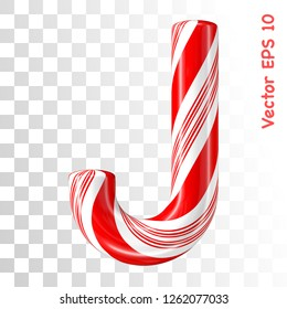 Mint hard candy cane vector alphabet collection striped in Christmas colours. Letter J. Eps 8 using mesh.