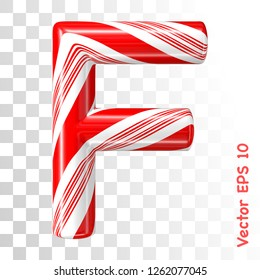 Mint hard candy cane vector alphabet collection striped in Christmas colours. Letter F. Eps 8 using mesh.