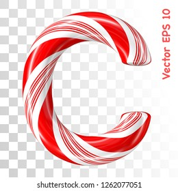 Mint hard candy cane vector alphabet collection striped in Christmas colours. Letter C. Eps 8 using mesh.