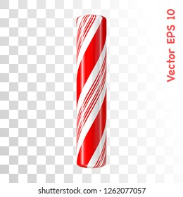 Mint hard candy cane vector alphabet collection striped in Christmas colours. Letter I. Eps 8 using mesh.