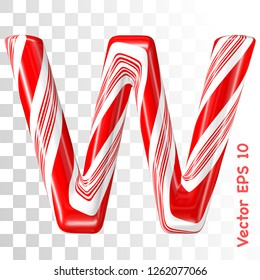 Mint hard candy cane vector alphabet collection striped in Christmas colours. Letter W. Eps 8 using mesh.