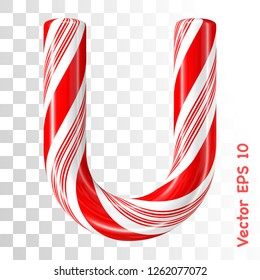 Mint hard candy cane vector alphabet collection striped in Christmas colours. Letter U. Eps 8 using mesh.
