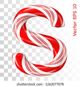 Mint hard candy cane vector alphabet collection striped in Christmas colours. Letter S. Eps 8 using mesh.