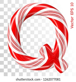 Mint hard candy cane vector alphabet collection striped in Christmas colours. Letter Q. Eps 8 using mesh.