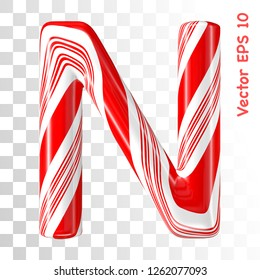 Mint hard candy cane vector alphabet collection striped in Christmas colours. Letter N. Eps 8 using mesh.