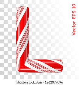 Mint hard candy cane vector alphabet collection striped in Christmas colours. Letter L. Eps 8 using mesh.