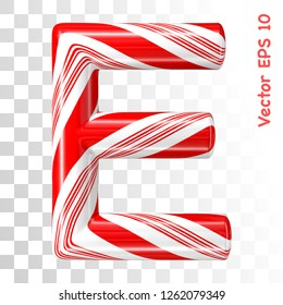 Mint hard candy cane vector alphabet collection striped in Christmas colours. Letter E. Eps 8 using mesh.