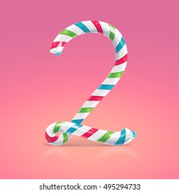 Mint hard candy cane vector number collection striped in Christmas colours. Figure 2, Vector illustration in cartoon style isolated from the background, EPS 10