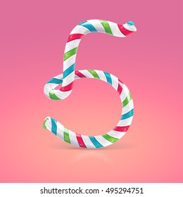Mint hard candy cane vector number collection striped in Christmas colours. Figure 5, Vector illustration in cartoon style isolated from the background, EPS 10