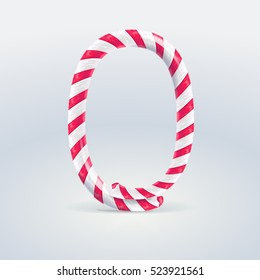 Mint hard candy cane vector number collection striped in Christmas colours. Figure 0, Vector illustration in cartoon style isolated from the background, EPS 10