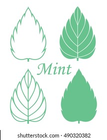 Mint icon set. Isolated mint leaves on white background. EPS 10. Vector illustration