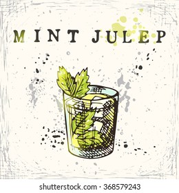 Mint julep cocktail. Hand drawn vector illustration.