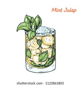 Mint Julep cocktail illustration. Alcoholic cocktails hand drawn vector illustration.