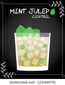 Mint Julep cocktail illustration vector with fresh mint leaves garnish.