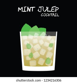 Mint Julep cocktail illustration vector with fresh mint leaves garnish on square black background.
