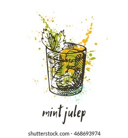Mint julep cocktail on the watercolor splash. Hand drawn vector illustration. Can be used for menu, cafe, restaurant or bar.