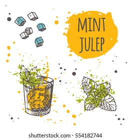 Mint julep cocktail on the watercolor splash. Hand drawn vector illustration. Can be used for menu, bar, cafe, restaurant, poster, banner, sticker, placard and other.