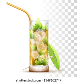 Mint Julep Cocktail Served In The Slightly Glass With Orange Straw, Mint Leaves, Umbrella And Ice Cubes. Front View. 3d Photo Realistic Vector Illustration Isolated On Transparent Background