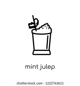 mint julep icon. Trendy modern flat linear vector mint julep icon on white background from thin line Drinks collection, outline vector illustration