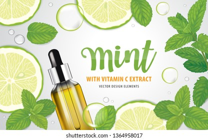 Mint leaf, lime fruit and vitamin C bottle with bubble on background template. Vector set of element for advertising, banner, packaging design of peppermint products.