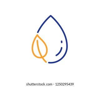 Mint leaf with water drop line icon. Nature plant dew sign. Environmental care symbol. Colorful outline concept. Blue and orange thin line color Leaf dew icon. Vector