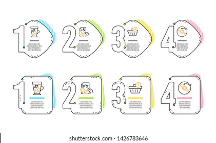 Mint leaves, Add purchase and Prescription drugs icons simple set. Vinyl record sign. Mentha leaf, Shopping order, Pills. Retro music. Infographic timeline. Line mint leaves icon. 4 options or steps