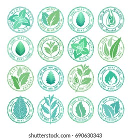 Mint leaves badges, stamps and stickers collection