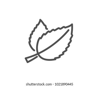 Mint leaves line icon. Herbal leaf sign. Tea with Mentha symbol. Quality design element. Editable stroke. Vector