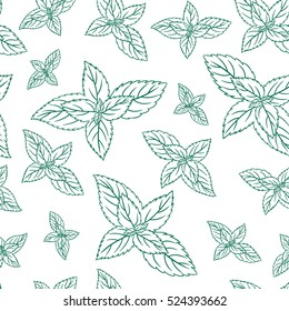 Mint leaves, peppermint isolated on white background, Hand drawn vector seamless patterns, spicy herbs, kitchen texture, Doodle cooking ingredient for design package tea, wallpaper, cosmetics, textile