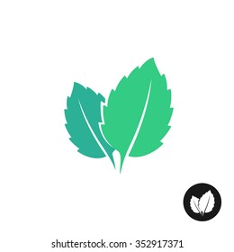 Mint leaves vector logo. Two leaves of a mint with one color black version.