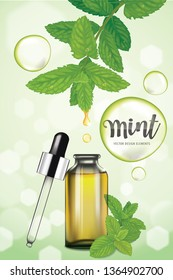 Mint oil dropping from leaf into glass bottle with green bubble on background template. Vector set of element for advertising, banner, packaging design of peppermint products.