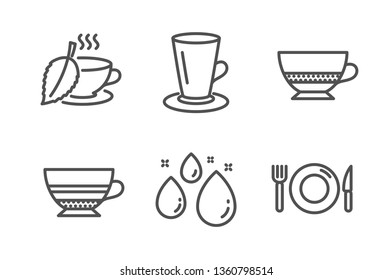 Mint tea, Water drop and Mocha icons simple set. Bombon coffee, Teacup and Food signs. Mentha beverage, Aqua. Food and drink set. Line mint tea icon. Editable stroke. Vector