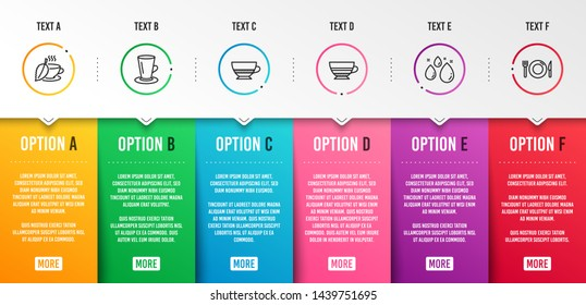 Mint tea, Water drop and Mocha icons simple set. Bombon coffee, Teacup and Food signs. Mentha beverage, Aqua. Food and drink set. Infographic template. 6 steps timeline. Business options. Vector