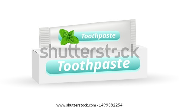 Mint Toothpaste Realistic White Box Packaging Stock Vector Royalty Free 1499382254