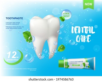 Mint toothpaste, white healthy tooth poster. Spearmint leaves, water bubbles and tube with paste. Dental care product, plaque protection and repair. Advertising promo banner, realistic 3d vector