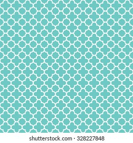 mint & white quatrefoil pattern, seamless texture background