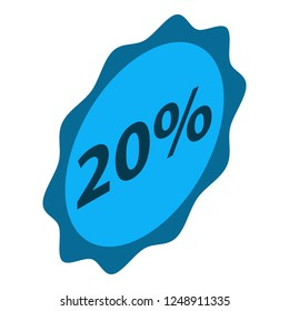 Minus 20 percent sale icon. Isometric of minus 20 percent sale vector icon for web design isolated on white background