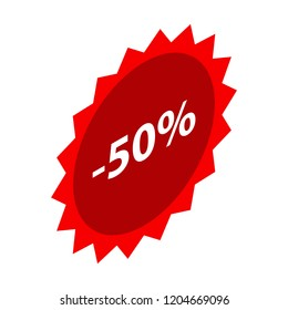 Minus 50 percent sale red icon. Isometric of minus 50 percent sale red vector icon for web design isolated on white background