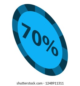 Minus 70 percent sale icon. Isometric of minus 70 percent sale vector icon for web design isolated on white background