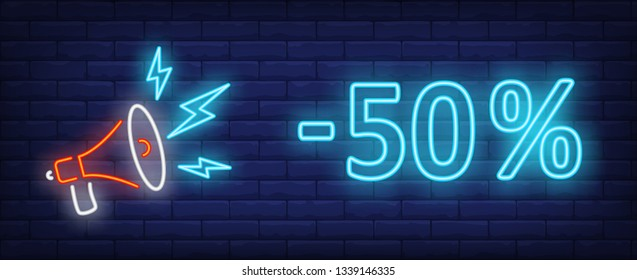 Minus fifty percent neon text with megaphone. Sale, discount, advertising design. Night bright neon sign, colorful billboard, light banner. Vector illustration in neon style.