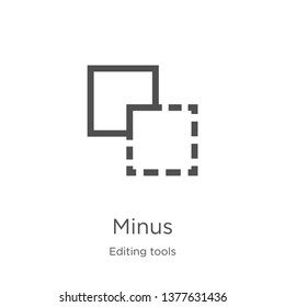 minus icon. Element of editing tools collection for mobile concept and web apps icon. Outline, thin line minus icon for website design and mobile, app development
