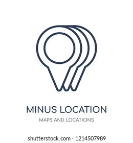 Minus Location icon. Minus Location linear symbol design from Maps and locations collection. Simple outline element vector illustration on white background.