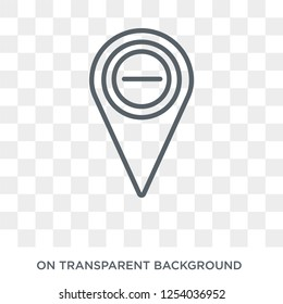 Minus Location icon. Trendy flat vector Minus Location icon on transparent background from Maps and Locations collection. High quality filled Minus Location symbol use for web and mobile