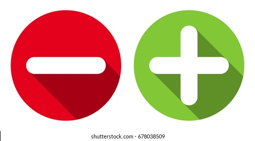 Minus & plus signs icons, flat round buttons set. Vector EPS10