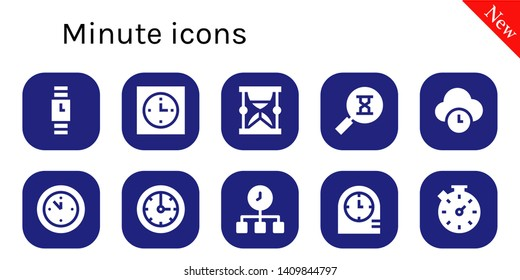 minute icon set. 10 filled minute icons.  Simple modern icons about  - Wristwatch, Clock, Hourglass, Sandclock, Time, Wall clock, Clocks, Stopwatch